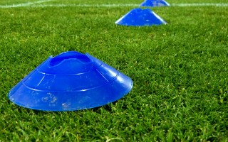 Cones ftraining over a grass